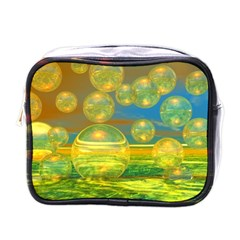 Golden Days, Abstract Yellow Azure Tranquility Mini Travel Toiletry Bag (one Side) by DianeClancy