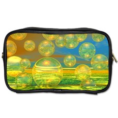 Golden Days, Abstract Yellow Azure Tranquility Travel Toiletry Bag (two Sides) by DianeClancy