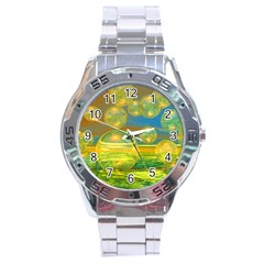 Golden Days, Abstract Yellow Azure Tranquility Stainless Steel Watch by DianeClancy