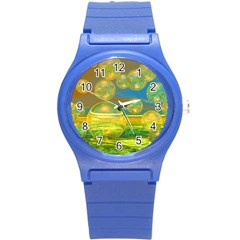 Golden Days, Abstract Yellow Azure Tranquility Plastic Sport Watch (small) by DianeClancy