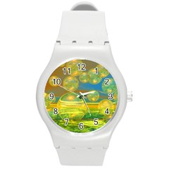 Golden Days, Abstract Yellow Azure Tranquility Plastic Sport Watch (medium) by DianeClancy