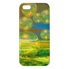 Golden Days, Abstract Yellow Azure Tranquility Apple Iphone 5 Premium Hardshell Case by DianeClancy