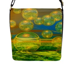Golden Days, Abstract Yellow Azure Tranquility Flap Closure Messenger Bag (large) by DianeClancy