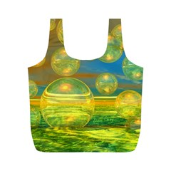 Golden Days, Abstract Yellow Azure Tranquility Reusable Bag (m) by DianeClancy