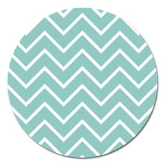 Blue And White Chevron Magnet 5  (round) by zenandchic