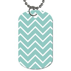 Blue And White Chevron Dog Tag (two Sided)  by zenandchic