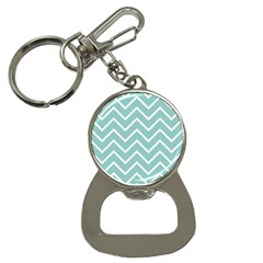 Blue And White Chevron Bottle Opener Key Chain by zenandchic