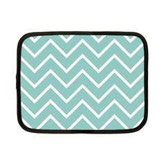 Blue And White Chevron Netbook Sleeve (small) by zenandchic