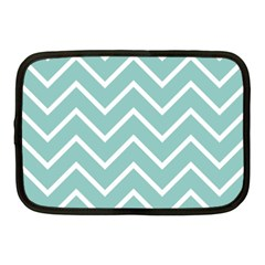 Blue And White Chevron Netbook Sleeve (medium) by zenandchic