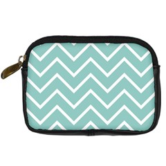 Blue And White Chevron Digital Camera Leather Case by zenandchic