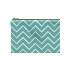 Blue And White Chevron Cosmetic Bag (medium) by zenandchic
