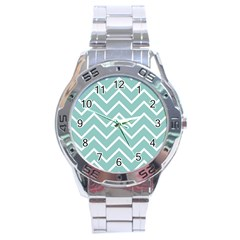 Blue And White Chevron Stainless Steel Watch by zenandchic