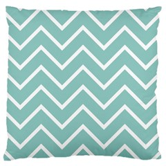 Blue And White Chevron Large Cushion Case (two Sided)  by zenandchic