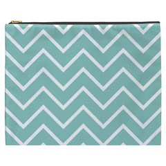 Blue And White Chevron Cosmetic Bag (xxxl) by zenandchic