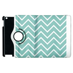 Blue And White Chevron Apple Ipad 3/4 Flip 360 Case by zenandchic