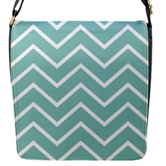 Blue And White Chevron Flap Closure Messenger Bag (small) by zenandchic