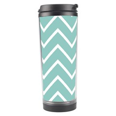Blue And White Chevron Travel Tumbler by zenandchic