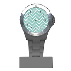 Blue And White Chevron Nurses Watch by zenandchic