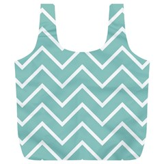 Blue And White Chevron Reusable Bag (XL) by zenandchic