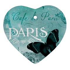 Paris Butterfly Heart Ornament by zenandchic