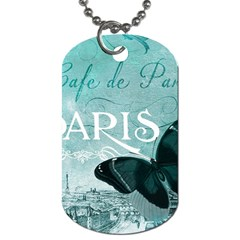 Paris Butterfly Dog Tag (two Sided)  by zenandchic
