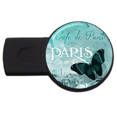 Paris Butterfly 4gb Usb Flash Drive (round) by zenandchic