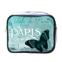 Paris Butterfly Mini Travel Toiletry Bag (one Side) by zenandchic
