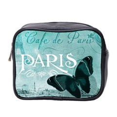 Paris Butterfly Mini Travel Toiletry Bag (two Sides) by zenandchic
