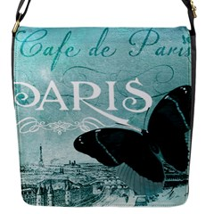 Paris Butterfly Flap Closure Messenger Bag (small) by zenandchic