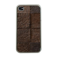 Wood Mosaic Apple Iphone 4 Case (clear) by chivieridesigns
