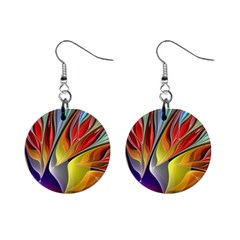 Fractal Bird Of Paradise 1  Button Earrings by WolfepawFractals