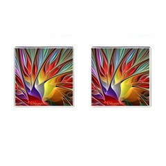Fractal Bird Of Paradise Cufflinks (square) by WolfepawFractals