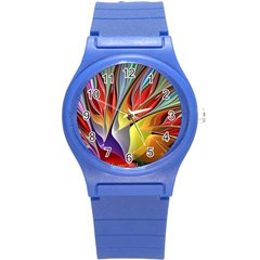 Fractal Bird Of Paradise Round Plastic Sport Watch (s) by WolfepawFractals