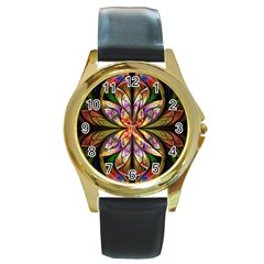 Rainbow Elliptic Splits Round Leather Watch (gold Rim)  by WolfepawFractals