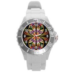 Rainbow Elliptic Splits Plastic Sport Watch (large) by WolfepawFractals