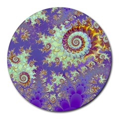 Sea Shell Spiral, Abstract Violet Cyan Stars 8  Mouse Pad (round) by DianeClancy