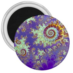 Sea Shell Spiral, Abstract Violet Cyan Stars 3  Button Magnet by DianeClancy