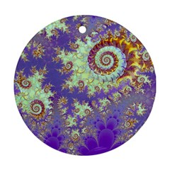Sea Shell Spiral, Abstract Violet Cyan Stars Round Ornament by DianeClancy