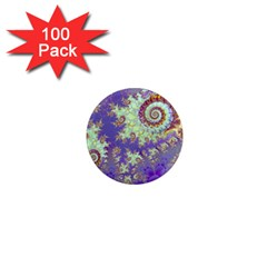 Sea Shell Spiral, Abstract Violet Cyan Stars 1  Mini Button Magnet (100 Pack) by DianeClancy