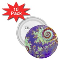 Sea Shell Spiral, Abstract Violet Cyan Stars 1 75  Button (10 Pack) by DianeClancy