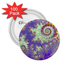 Sea Shell Spiral, Abstract Violet Cyan Stars 2 25  Button (100 Pack) by DianeClancy