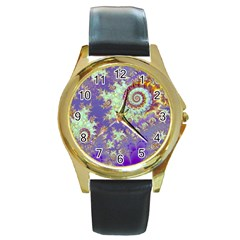 Sea Shell Spiral, Abstract Violet Cyan Stars Round Leather Watch (gold Rim)  by DianeClancy