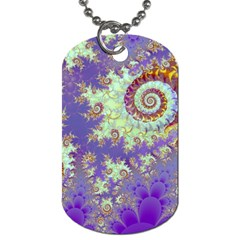 Sea Shell Spiral, Abstract Violet Cyan Stars Dog Tag (one Sided) by DianeClancy