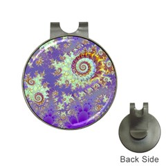 Sea Shell Spiral, Abstract Violet Cyan Stars Hat Clip With Golf Ball Marker by DianeClancy