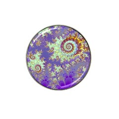 Sea Shell Spiral, Abstract Violet Cyan Stars Golf Ball Marker 10 Pack (for Hat Clip) by DianeClancy