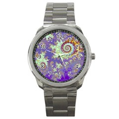 Sea Shell Spiral, Abstract Violet Cyan Stars Sport Metal Watch by DianeClancy