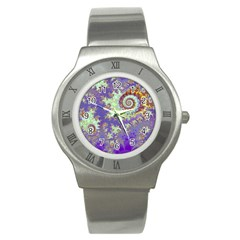 Sea Shell Spiral, Abstract Violet Cyan Stars Stainless Steel Watch (slim) by DianeClancy