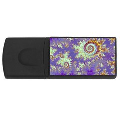 Sea Shell Spiral, Abstract Violet Cyan Stars 4gb Usb Flash Drive (rectangle) by DianeClancy