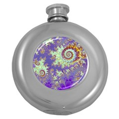 Sea Shell Spiral, Abstract Violet Cyan Stars Hip Flask (round) by DianeClancy