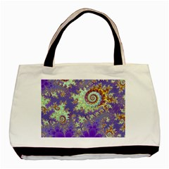 Sea Shell Spiral, Abstract Violet Cyan Stars Twin Sided Black Tote Bag by DianeClancy